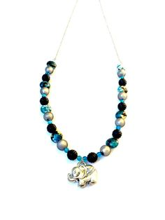 Silver Elephant Necklace Blue Beaded by CreativelyCraftedGA