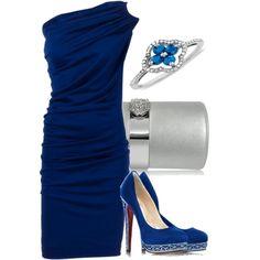so classy.     Blue & Crystal, created by #olivevia on polyvore.com