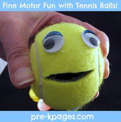 Fun fine motor math game using tennis balls via www.pre-kpages.com
