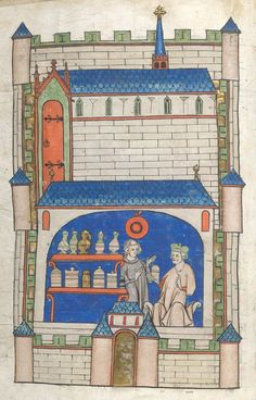 """A medieval apothecary shop (Amiens, 14th century): such amazing detail    British Library Sloane MS 1977, f. 49v  https://t.co/N0DvPQbMCs"""
