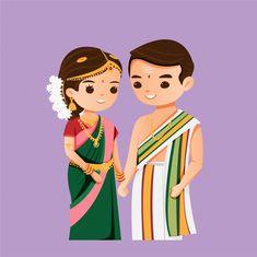 Bride And Groom Cartoon, Wedding Couple Cartoon, Cute Couple Cartoon, Wedding Card Design Indian, Indian Wedding Couple, Indian Wedding Cards, Wedding Illustration, Couple Illustration, Cute Doodle Art