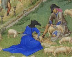 1412-16 or с.1440.Très Riches Heures du duc de Berry.F.7,July. Detail.Limbourg brothers(-1416)or Barthélemy d'Eyck(fl.1444-69) Musée Condé,Chantilly.Deux autres personnages,dont une femme, coupent la laine des moutons à l'aide de forces.Exception faite des montagnes imaginaires,le paysage représente,au premier plan,la rivière Boivre se jetant dans le Clain,à proximité du palais comtal de Poitiers.