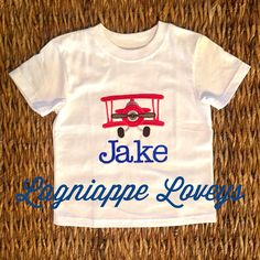 Vintage airplane embroidered tshirt for a special birthday boy by Lagniappe Loveys. Http://www.lagniappeloveys.com