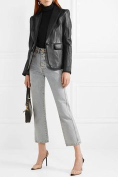 Black leather and grosgrain Button fastening at front leather (Lamb); Cropped Jeans Outfit, Blazer Outfits, Jean Outfits, Fashion Outfits, Night Outfits, Winter Outfits, Victoria Beckham Jeans, Leather Blazer, Blazers