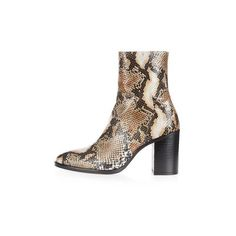 Topshop Million Snake Sock Boots (£55) ❤ liked on Polyvore featuring shoes, boots, ankle booties, topshop, multi, high heel bootie, short leather boots, bootie boots, leather bootie and leather ankle booties