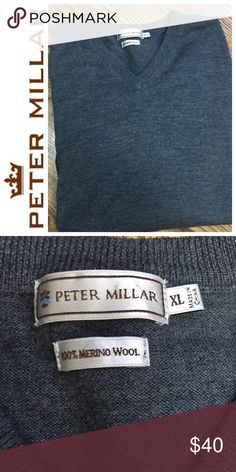 Peter Millar Wool Long Sleeve Sweater XL This grey long sleeve wool sweater is by Peter Millar. Arm inseam 21 in, 27 in across chest. Good Condition, no pilling.Check out my closet and save on bundles . Reasonable offers accepted Peter Millar Sweaters V-Neck