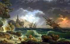 Claude-Joseph Vernet - National Gallery (London) NG6601. A Shipwreck in Stormy Seas (Date 1773)   #18th #Classic #Claude-JosephVernet #Painting #sea #ship #storm