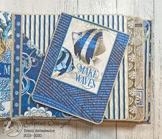 Scraps of Life: Graphic 45 Ocean Blue Mini Album Tutorial Diy Mini Album, Mini Albums Scrap, Mini Album Tutorial, Mini Scrapbook Albums, Memory Album, Memory Books, Chicken Scratch Embroidery, Girl Scout Crafts, Quilling Designs