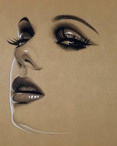 Minimalist Realistic and Stylized Charcoal Portraits. By Husam Waleed. Pencil Art Drawings, Realistic Drawings, Art Sketches, Pencil Portrait, Portrait Art, Dani Olivier, Charcoal Portraits, Art Inspiration Drawing, Chicano Art