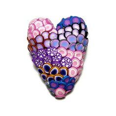 Textured Heart Polymer Clay Pin Handmade Brooch Art Jewelry Canework... ($15) ❤ liked on Polyvore featuring jewelry, brooches, pink brooch, heart shaped jewelry, pink heart jewelry, pink jewelry and purple jewelry