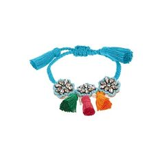Shourouk Hippie Flower bracelet ($166) ❤ liked on Polyvore featuring jewelry, bracelets, floral jewelry, blue jewelry, braid jewelry, clear jewelry and blue bangles