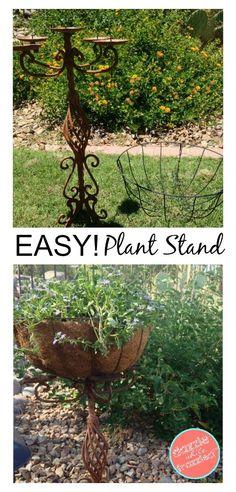 Candelabra Garden Planter, Outdoor Plant Stand, DIY Garden Decor, Gardening Ideas | Repurpose Thrift Store Items | Outdoor Decor Ideas DIY via @https://www.pinterest.com/dazzlefrazzled/