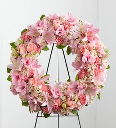 Loving Remembrance wreath from www.flowersforcanada.com , a lovely feminine funeral wreath with pink lilys, roses,carnations, and more.