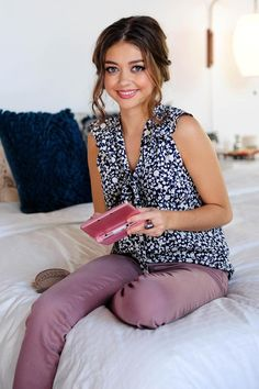 lavender pants and navy print top