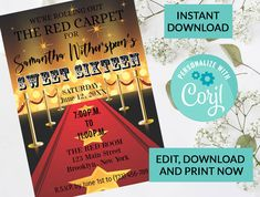 Red Carpet Themes Sweet 16 Invitation Sweet 16 Invitation #26| Digital INSTANT DOWNLOAD Editable Invite | Sweet Sixteen Birthday | Hollywood by PurplePaperGraphics on Etsy Sweet 16 Invitations, Party Invitations, Invite, Hanging Mason Jars, Ball Mason Jars, Sixteenth Birthday, 16th Birthday, Red Carpet Theme, Party Themes