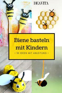 Möchten Sie mit den Kindern eine niedliche Biene basteln, dann sind Sie bei uns richtig. Wir haben viele kreative Bastelideen mit günstigen Materialien gesammelt, die Sie mit den Kindern probieren können. Abc For Kids, Bee, Activities, Spur, Daycare Ideas, Insect Activities, Cute Bee, Bee Art, Honey Bees