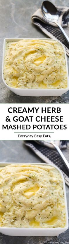 Creamy Herb and Goat Cheese Mashed Potatoes Recipe | EverydayEasyEats.com