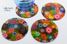 Alcohol ink and cane coasters tutorial