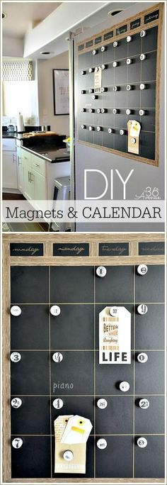 #DIY Magnetic Chalkboard Calendar Tutorial at the36thavenue.com Easy to make and perfect for the side of the fridge! #homeofficeideasdiy