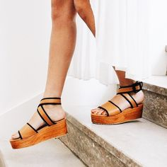 Brown with Black trim wedge sandals
