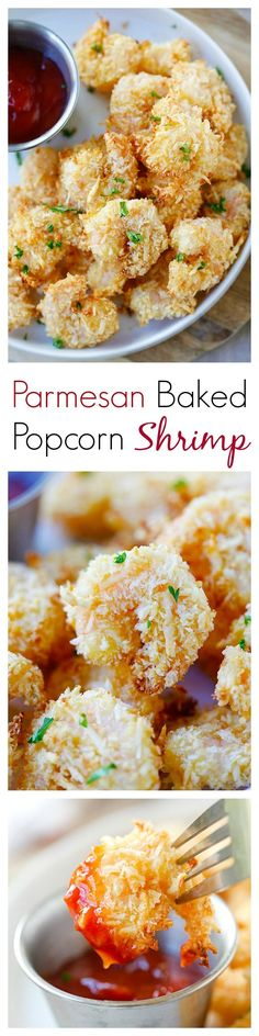 Parmesan Baked Popcorn Shrimp – Easiest and crispiest popcorn shrimp with no deep frying. Easy, healthy, super yummy | http://rasamalaysia.com