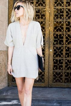 minimalista e chique low cut nude shift dress #drestfinds /drestmaker/
