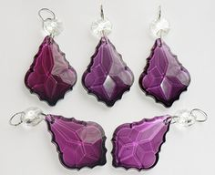 5 Victorian Purple Chandelier Drops Glass Crystals by SeearLights
