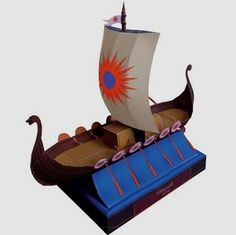 Viking Ship Paper Model - by Canon - Barco Viking - - A nice and esay-to-build paper model of a Viking Ship, by Japanese website Canon.