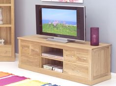 Mobel Solid Oak Widescreen TV Cabinet - TV and Hi-Fi Cabinets - Living Room