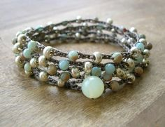 Bohemian beaded wrap bracelet - Driftwood - Boho crocheted jewelry, long necklace, aqua terra jasper, silver, aqua. $38.00, via Etsy.