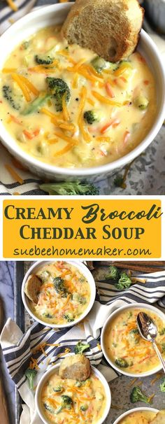 Creamy Broccoli Cheddar Soup is total comfort food. A vegetable base with a creamy roux makes this soup a stretchy-waistband, cozy day meal!
