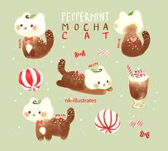 Cocoa, Peppermint, Peppermint Mocha Cat. :) I forgot to post these guys here! Intended for the holidays lol. For more cats follow me on my cat twitter: CAT TWITTER