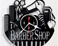 Vinyl wall clock Barber Shop
