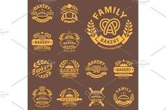 Bakery gold badge icon fashion modern style wheat vector retro food label design element isolated.. Premium Icons