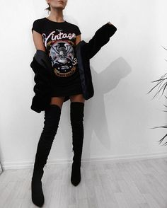 Printed oversized tee and thigh high boots - @misspap use code ALICIA10