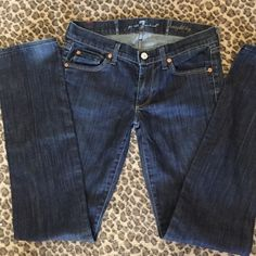 Like new 7 jeans Worn a couple times straight leg Dark jean. 7 for all Mankind Jeans Straight Leg