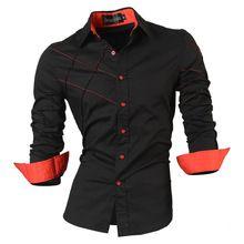40ff5bd1a 2016 camisetas casuales de vestir para hombre macho ropa de manga larga  delgado social fit marca