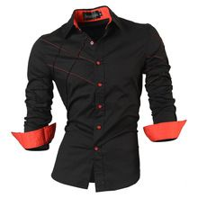 2016 camisetas casuales de vestir para hombre macho ropa de manga larga delgado social fit marca boutique de algodón occidental botón blanco negro t 2028(China (Mainland))