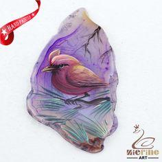 Hand Painted Bird Agate Slice Gemstone Necklace Pendant Jewelry D1706 0087 #ZL #Pendant