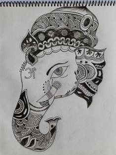 Ganesha Drawing, Ganesha Art, Mandala Art, Sketching, Art Drawings, Doodles, Ganesha Painting, Sketch, Sketches