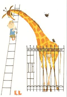 How to talk to a giraffe idea Elephas Maximus, Illustrations Vintage, Vintage Children's Books, Vintage Art, Children's Book Illustration, Schmidt, Cute Art, Childrens Books, Book Art