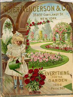 Vintage 1902 seed catalog - Peter Henderson Co. Vintage Labels, Vintage Ephemera, Vintage Postcards, Garden Catalogs, Seed Catalogs, Seed Illustration, Illustrations, Vintage Pictures, Vintage Images