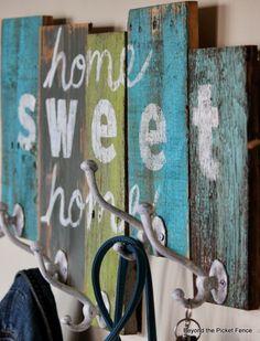 home sweet home reclaimed wood coat hook http://bec4-beyondthepicketfence.blogspot.com/2014/03/home-sweet-home-coat-hook.html
