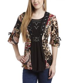 Another great find on #zulily! Black & Red Paisley Top by Simply Irresistible #zulilyfinds