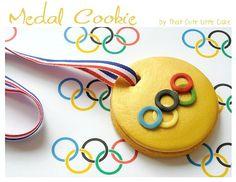 Olympic Medal Cookies! birthday, craft, olymp parti, food, cookies, medal cooki, parti idea, olymp medal, dessert