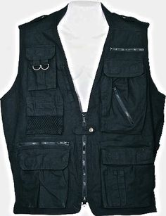 Safari Vest Black 21 Pockets Hunting Camping Fishing Survival Photography Cargo | eBay