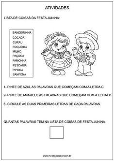 Projeto festa junina educação infantil - pinte letras