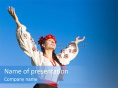 Woman wreath authentic PowerPoint Template