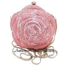 Anthony David Pink Rose shaped crystal clutch evening bag covered in hand-set, genuine Swarovski Crystals. Color Rosa, Pink Color, Pink Love, Pretty In Pink, Clutch Bag, Crossbody Bag, Vintage Purses, Vintage Hats, Bling