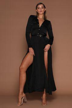Cara Military Maxi Dress - Black - MESHKI - Size S